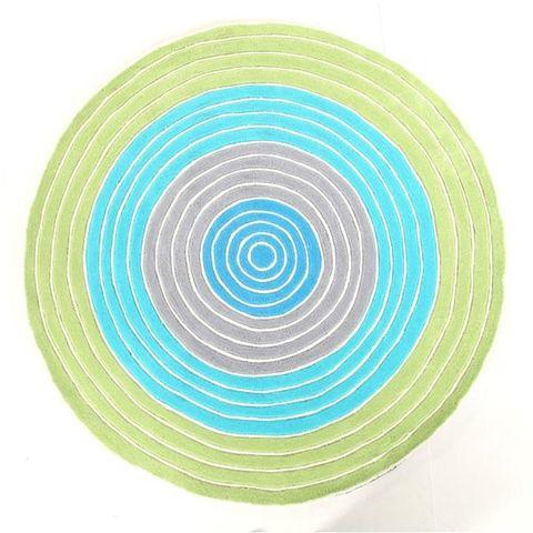 Circles Green 150 x 150 cm Round Floor Rug