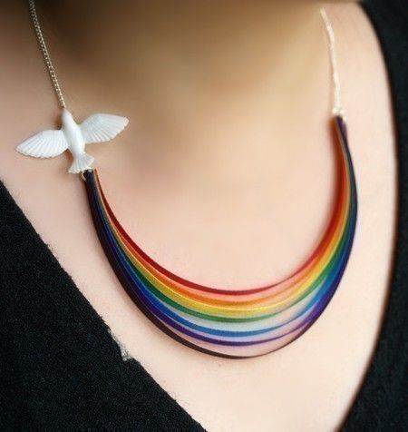 rainbow - DIY necklace for kids to make (minus dove if you can't find it)