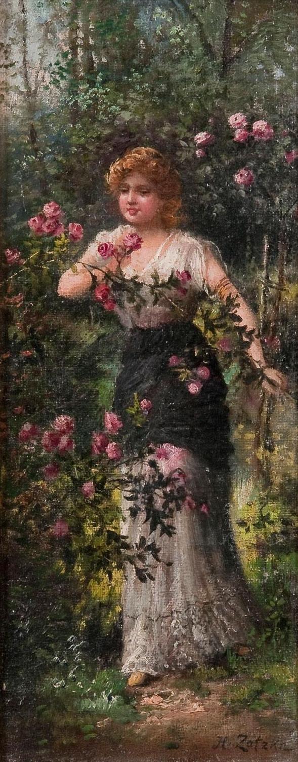 Hans Zatzka - Frau in Rosengarten