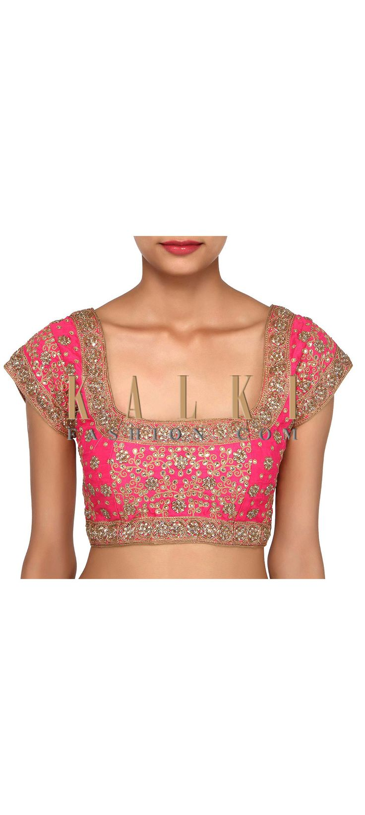 Buy Online from the link below. We ship worldwide (Free Shipping over US$100). Product SKU - 275691. Product Link - http://www.kalkifashion.com/featuring-pink-embroidered-blouse-only-on-kalki.html