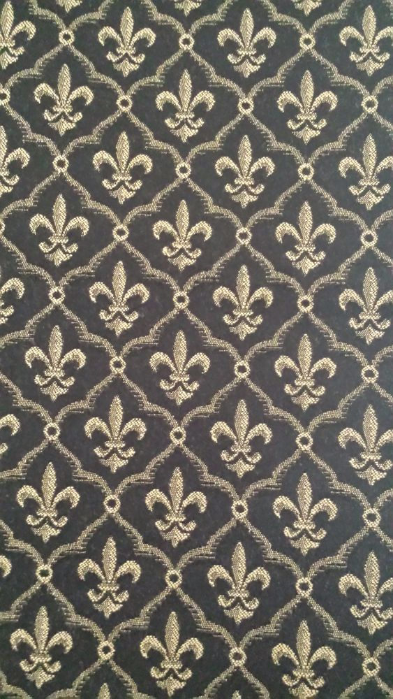 Black and Gold Fleur de Lis Pattern Upholstery Weight Fabric