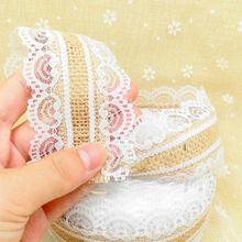 Lindo 10 m Rollo de Cinta de Yute Arpillera de yute Natural de Encaje + Encaje Blanco Decoración de La Boda Del Partido de Navidad de La Vendimia Artesanía Decorativa(China)
