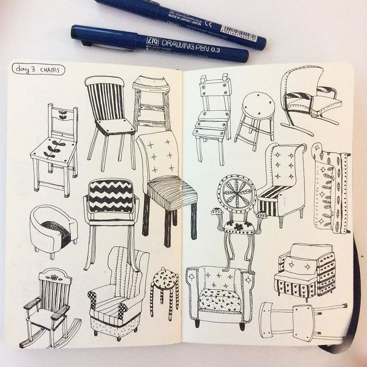 Day 3 Chairs #CBDrawADay #creativebug #chair #linedrawing #sketchbook #moleskineart by hee_cookingdiary