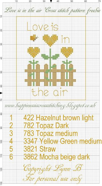 Happiness is Cross Stitching : Love is in the air cross stitch freebie.