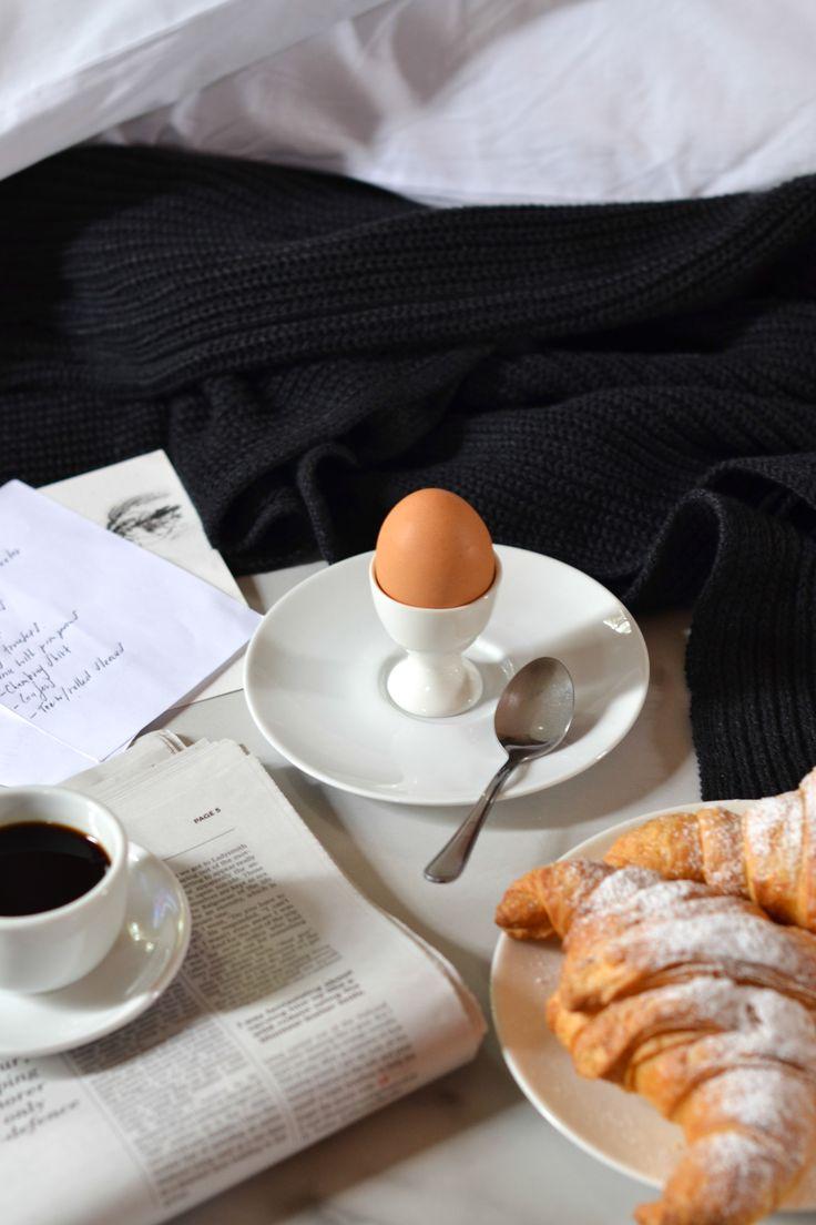 Boiled egg & fresh almond croissants | www.eastafternoon.com