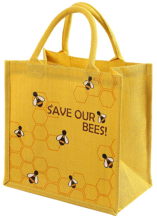Reusable Jute Shopping Bag - Save Our Bees - Shared Earth - This long-lasting and functional jute shopping bag has been hand-screen printed by Fair Trade producers in Kolkata, India. #Biodegradable #RecycleReuse #Sustainable #EcoFriendly #FairTrade
