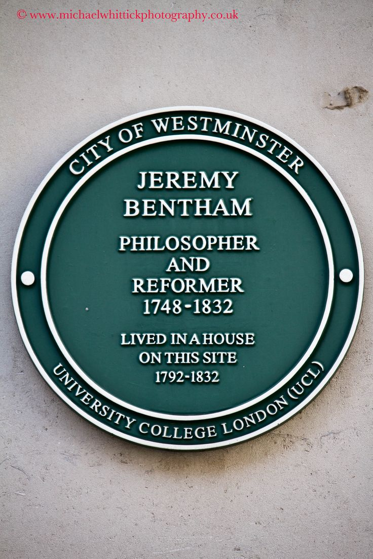 BENTHAM. Jeremy(1748-1832) Philosopher. Reformer 50 Queen Anne's Gate, Westminster, SW1H 9AA.  City of Westminster.