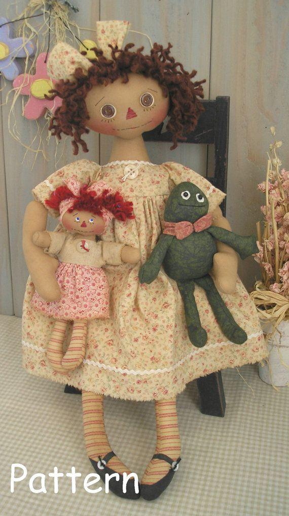 PDF E-Pattern #20 Primitive Raggedy Ann Doll Frog Mini Annie Folk Art Sewing Craft