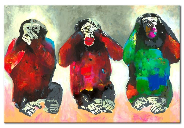 Where classic art and street art walk together, great things happen! Like this awesome painting of three colourful monkeys