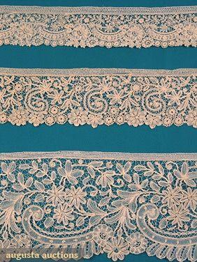 Augusta Auctions, April 2006 Vintage Clothing & Textile Auction, Lot 236: Belgian Lace Yardage, 19th C