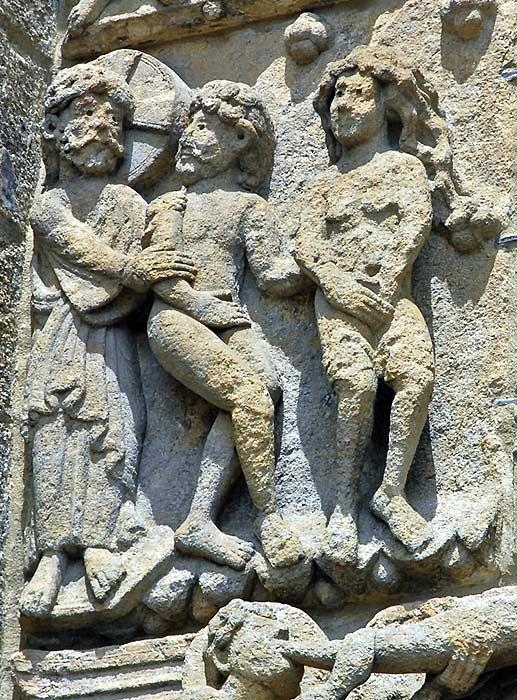 Adam and Eve ejected, archivolt of Puerta de las Platerias, Cathedral of Santiago de Compostela, Spain.