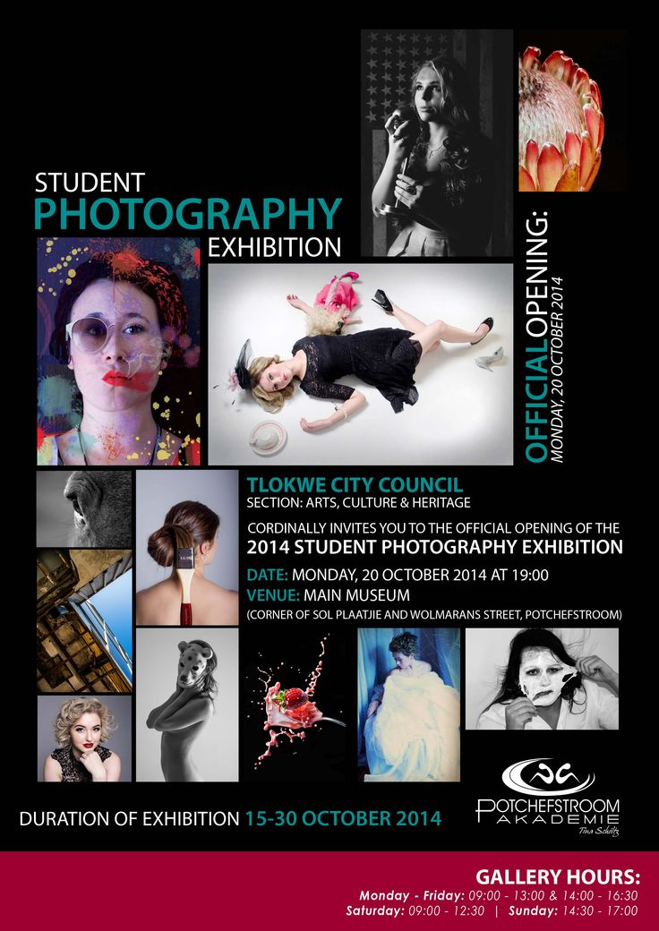 Visit the Tlokwe City Council Main Museum on 20th October at 19H00 and view the work of our talented Potch Academy Photography students. 2014