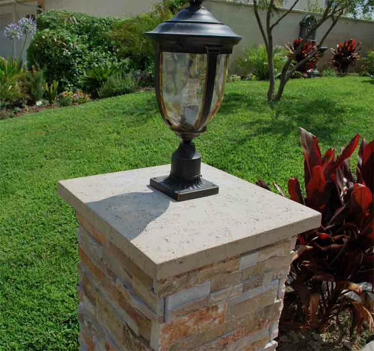 Front Yard Landscaping Ideas Wisconsin Blandscapingb Bb: Column Cap With Light Fixture