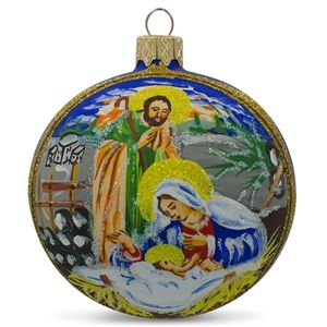 Nativity Sunset Scene Glass Ball Religious Christmas Ornament Holiday Gift Idea