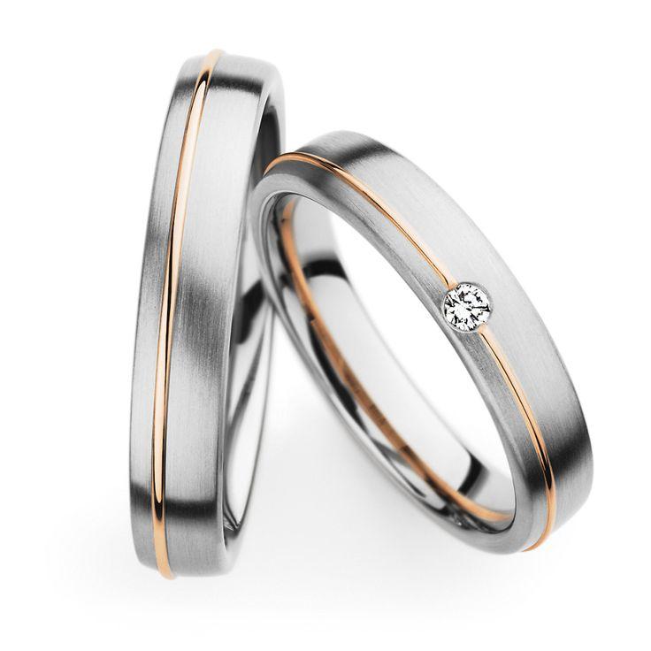 Con forma ligera y cómoda – Alianzas de oro blanco y oro rosa, …   – Zweifarbige & mehrfarbige Eheringe