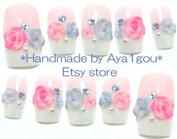 Wedding bridal  japanese 3d nail art  flowers on french by Aya1gou, $20.00