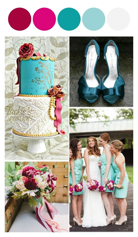 Delicious Teal and Raspberry wedding color combination  http://glamthings.com/teal-and-raspberry-color-combinations/