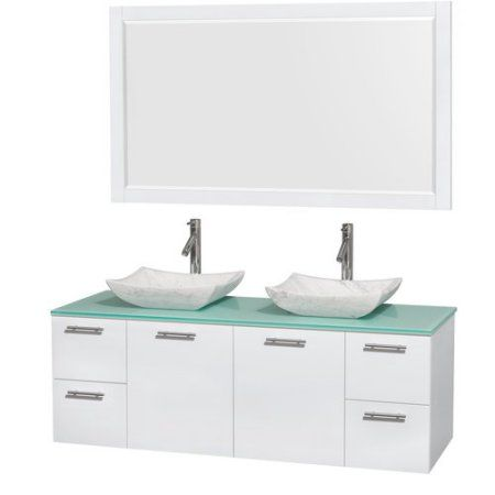 Wyndham Collection Amare 60 inch Double Bathroom Vanity in Glossy White, Green Glass Countertop, Avalon White Carrera Marble Sinks, and 58 inch Mirror