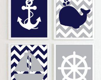 Impresiones náuticas - gris y azul marino - conjunto de 4 - playa de océano mar más colores disponibles