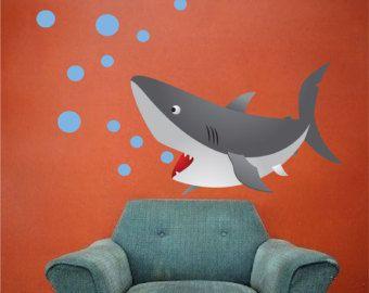 Kids Shark Bedroom or Bathroom Vinyl Wall Mural Decal, Peel and Stick Kids Animal Ocean Decals, Shark, Nursery Fish Shark Wall Mural, c32