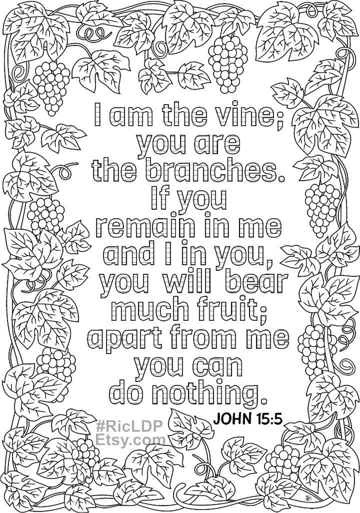 Set Of 2 Bible Coloring Pages John 15 5 And John 6 35