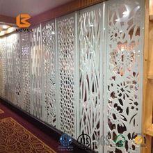 Mdf tela esculpida acabamento folheado grade divisor decoração painel de corte a Laser