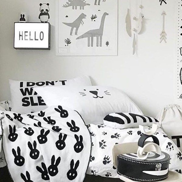 Our pillow case in the most fabulous room ever! #pillow #Scandinavian #kidsroom #nursery #monochrome #kidsbed #etsy # petekdesign