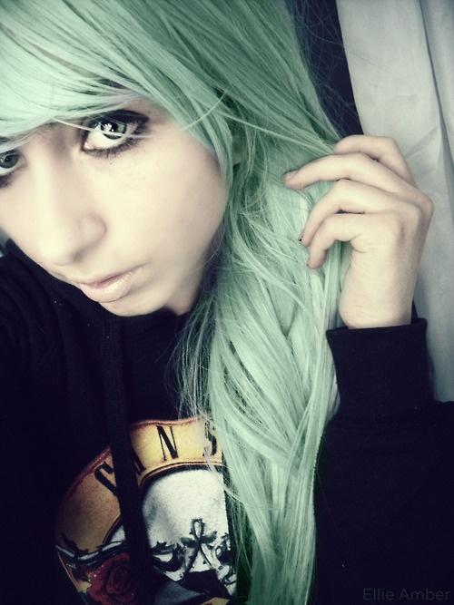 pastel green hair   Green Hair   Pinterest