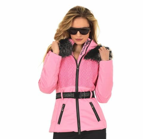 Sportalm Leopardy Rich Pink Ski Jacket with Fur Hood