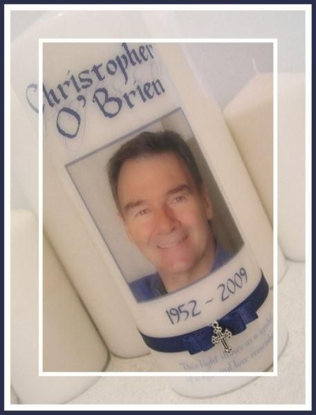 Chris O'Brien -  www.reneescandles.com  Personalised Memorial candle - By Real Creative / Renee's Candles
