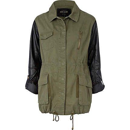 khaki pu sleeve army jacket - jackets - coats / jackets - women ...