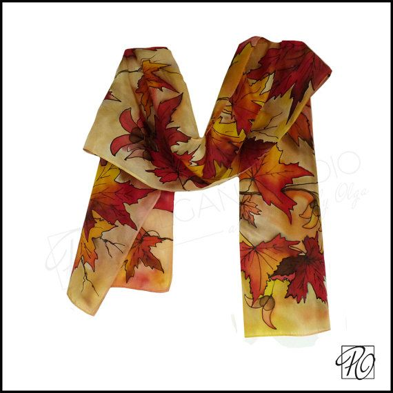 Fall Leaves Red Orange Yellow. Silk Art Scarf by PolganiStudio