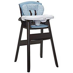 Dine, Recline Wood High Chair Light Blue/Brown