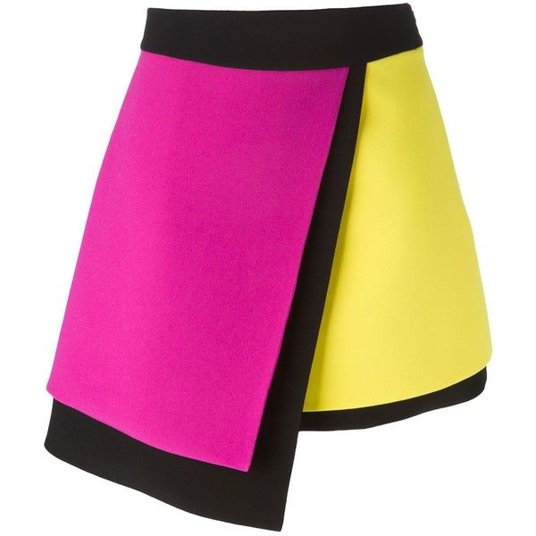 Fausto Puglisi Colour Block Asymmetric Skirt ($918) ❤ liked on Polyvore featuring skirts, bottoms, saias, black, black silk skirt, colorblock skirt, black knee length skirt, multicolor skirt and multi colored skirt