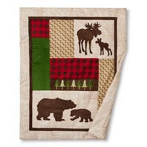 Give your nursery a cozy cabin feel with Trend Lab's Northwoods 3 Piece Crib Bedding Set. Printed and appliquéd bear and moose silhouettes are featured alongside embroidered pine trees, printed wood grain, and classic buffalo check. Deep red and chocolate brown are mixed with oak, flax and clover green. Set includes: Reversible quilt, skirt and sheet. <br>Reversible quilt measures 35 in x 45 in and features patches of lovely textural fabrics including flannel buffalo ...