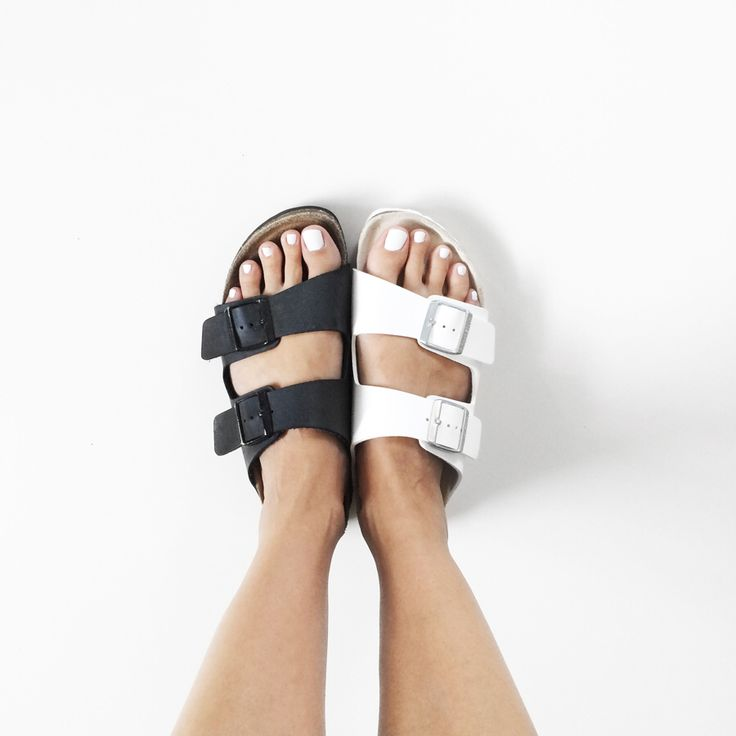 Black and white Birkenstock sandal