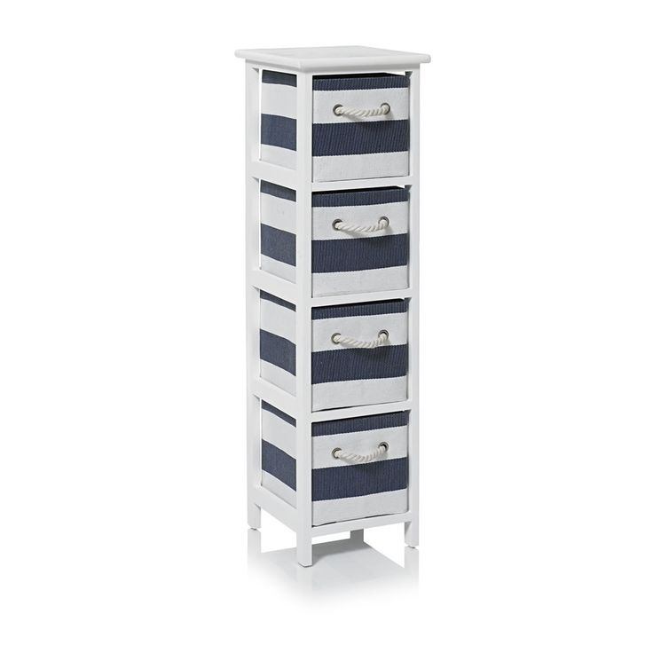 Storage Unit 4 Drawer Blue Stripe