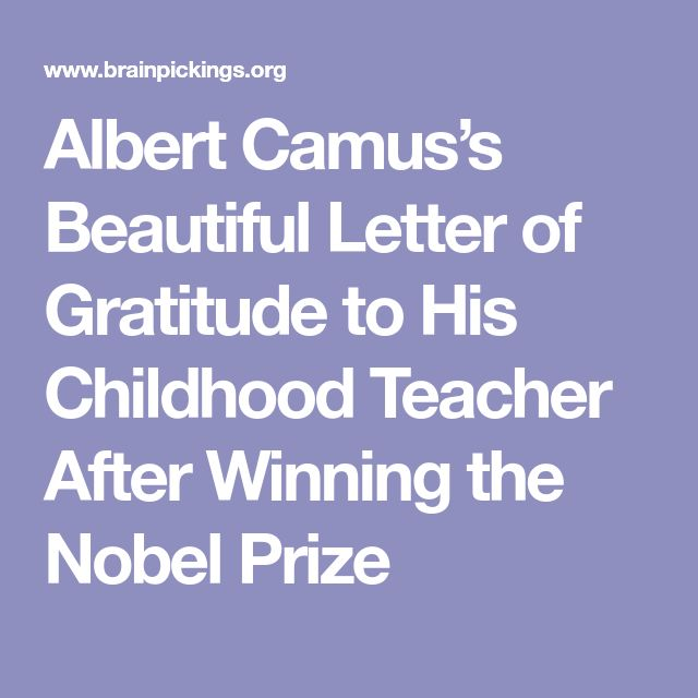 Albert Camus's Beautiful Letter of Gratitude to His Childhood Teacher After Winning the Nobel Prize
