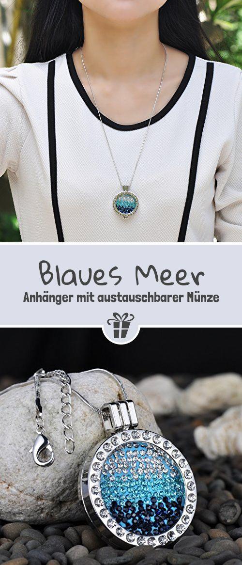 Unendlich U Kreativ Silber Damen Halskette Blaues Meer Legierung Kristall Austauschbare Münze Anhänger Vertellbare Pullover Kette - Geschenkideen für Frauen und die Freundin (*Partner-Link)