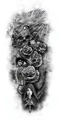 Tattoo drawing roses skull