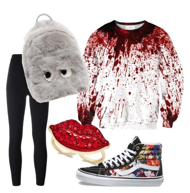 """#red"" by sanikova on Polyvore featuring adidas Originals, Vans, Anya Hindmarch and Thalia Sodi"