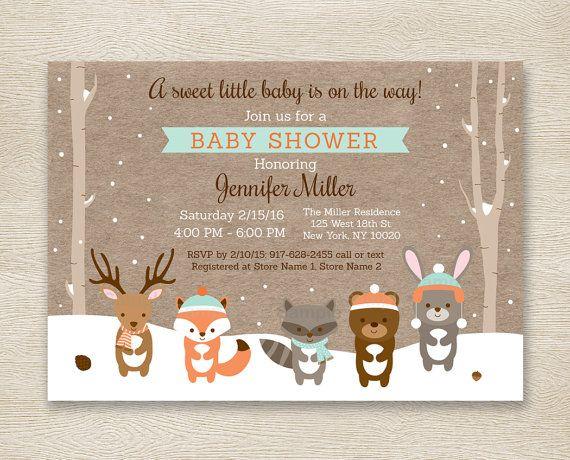 Winter Woodland Baby Shower Invitation / Forest Animals / Birch Tree / Winter Baby Shower / Snowy Forest / Gender Neutral PRINTABLE