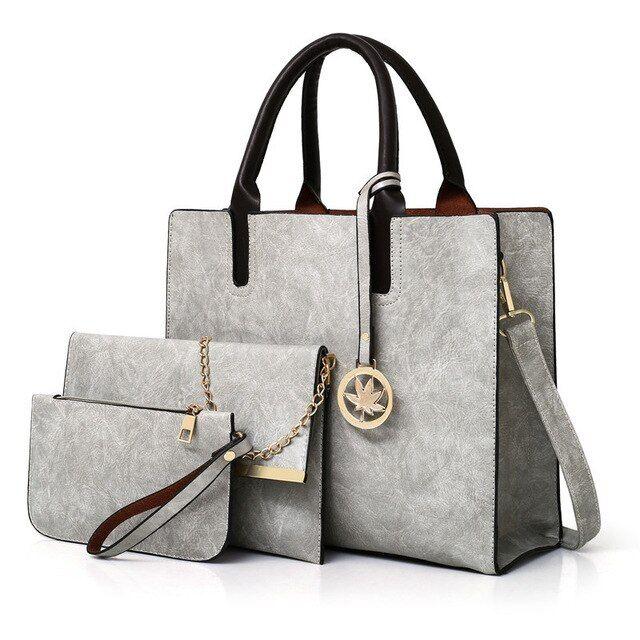 3 pcs / set bolsos bolsos de mujer bolsos cruzados cremalleras bolso de mensajero de señoras sólidas bolso casual