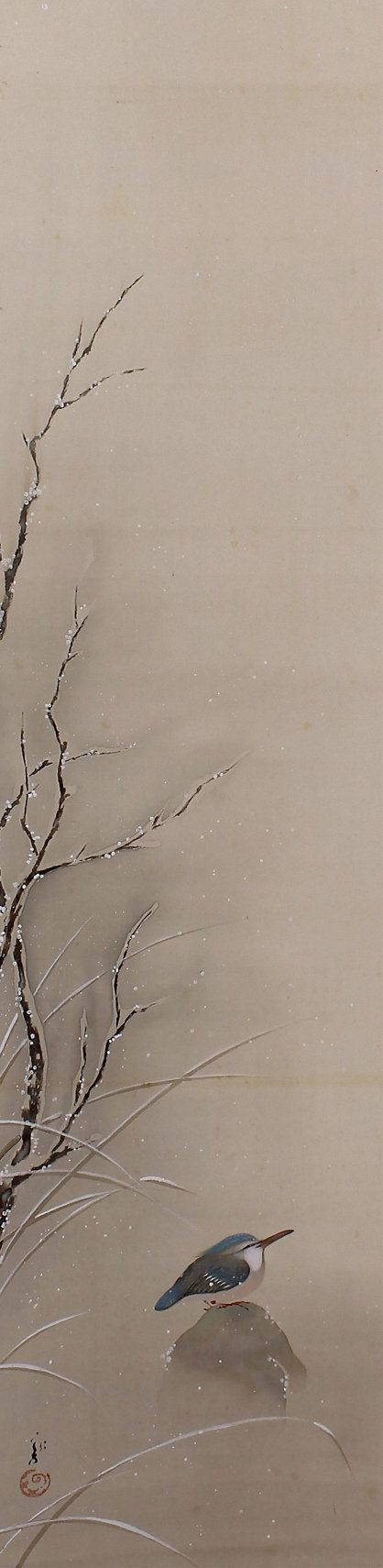 Japanese Art Scroll Painting Kingfisher in Snow -