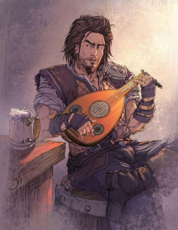 "Illustration of ""The Bard"" from InXile's 2004 comedic hack & slash fantasy PS2 / Xbox / PC game ""The Bard's Tale."""