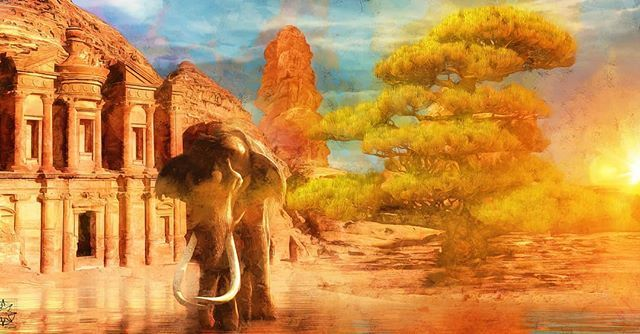 A new piece for today Ancient Origins.   Link to my website and online store in my bio if you want to purchase prints of my artwork. Thank you!  #chrisharrisart #digitalart #picture #fineart #prints #photoshop #adobe #artofinstagram #digitalartist #graphicdesign #creativeart #photoshopskills #3dart#elephant #petra #gaokerena #desert #mohenjodaro #indusvalley #mesopotamia #oasis #ancientplaces