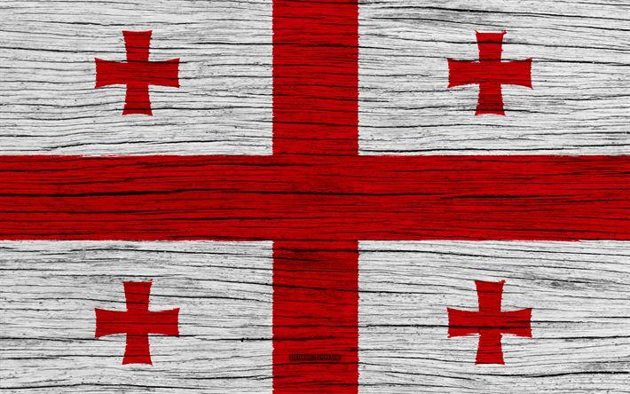 Download wallpapers Flag of Georgia, 4k, Asia, wooden texture, Georgian flag, national symbols, Georgia flag, art, Georgia