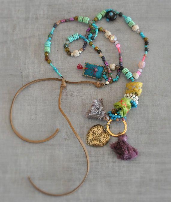 Talisman Hippie Necklace  Gemstone Ethnic by stellacreations