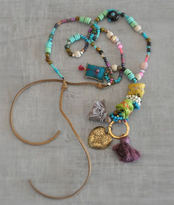 Talisman Hippie Necklace  Gemstone Ethnic by stellacreations