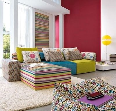 Use different patterns from the same colour pallette. Don't forget texture.
